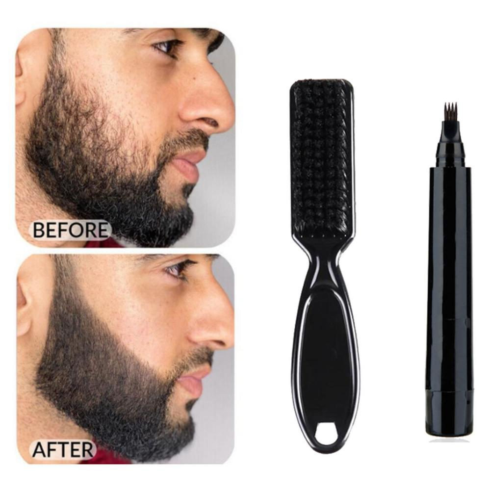 Beard Pen Beard Filler Pencil And Brush Beard Enhancer Waterproof Moustache Coloring Shaping Tools